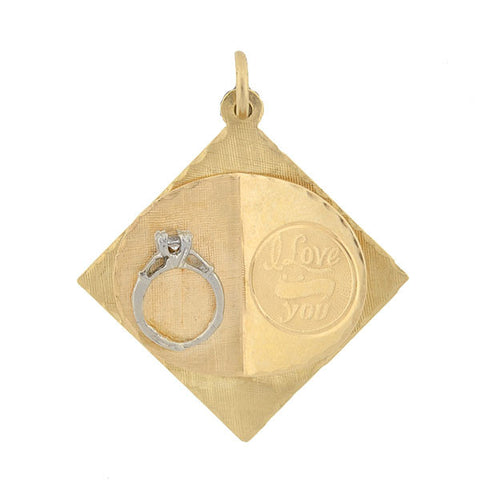"Vintage 14kt Gold & Diamond Ring ""I Love You"" Charm/Pendant"