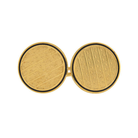 Late Victorian 18kt & Enamel Engine-Turned Cufflinks