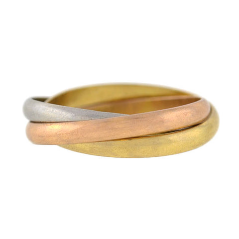 Estate 18kt/Platinum Mixed Metals 3-Tone Trinity Roller Ring