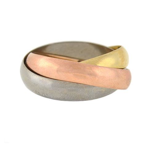 Estate 18kt Tri-Tone Trinity Roller Ring