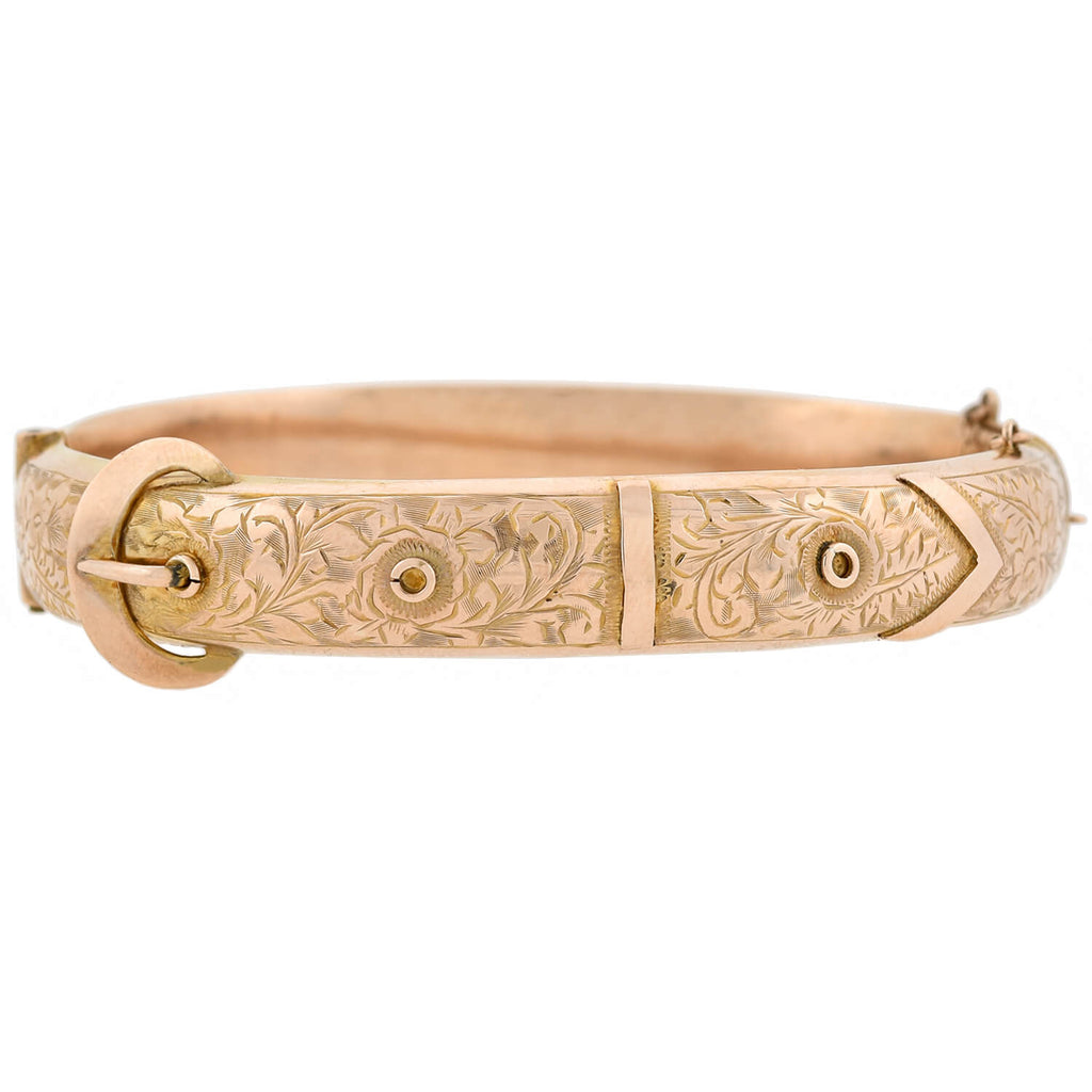 Art Deco English 9kt Rose Gold + Etched Buckle Bangle Bracelet
