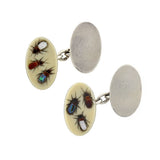 Victorian Silver, Bone, Abalone & Mother of Pearl Insect Cufflinks
