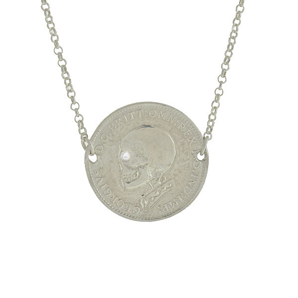 Estate Sterling 1915 British Threepence Coin Pendant with Engraved Diamond Skull