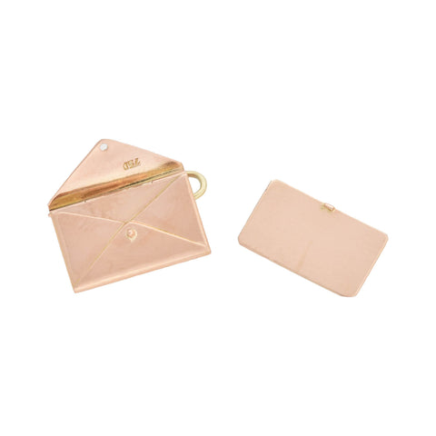 Vintage 18kt Rose Gold Envelope + Removable Letter Charm Pendant