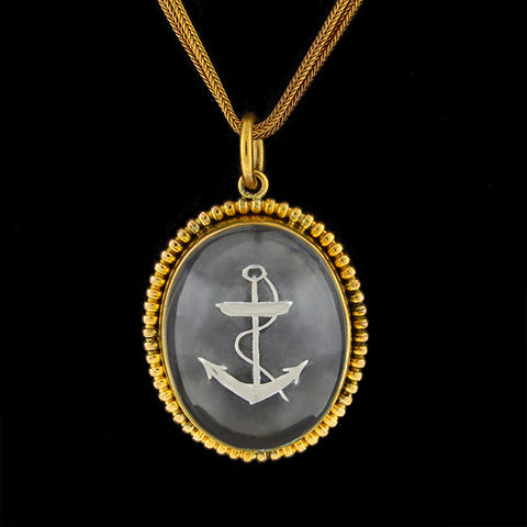 Victorian 9kt Reverse Carved Essex Crystal Anchor Pendant & Chain