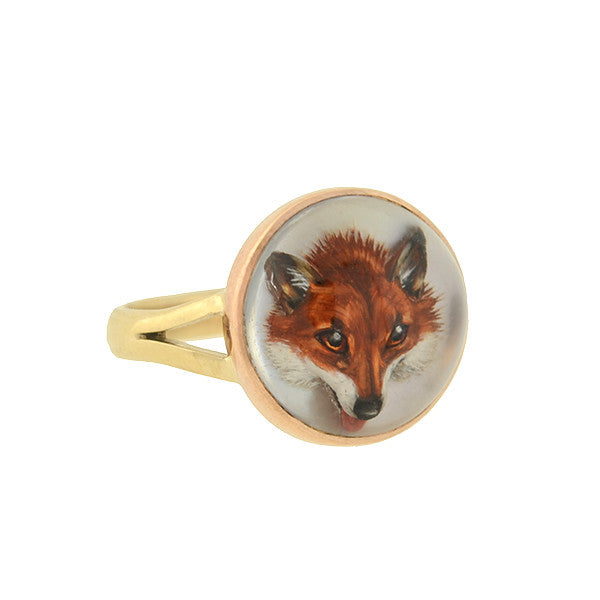 Art Deco 14kt Reverse Carved Crystal Fox Ring