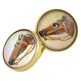 Art Deco 14kt Reverse Carved Crystal Horse Cufflinks