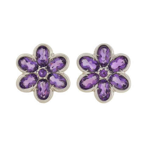 LEGI Estate 18kt Amethyst Flower Stud Earrings