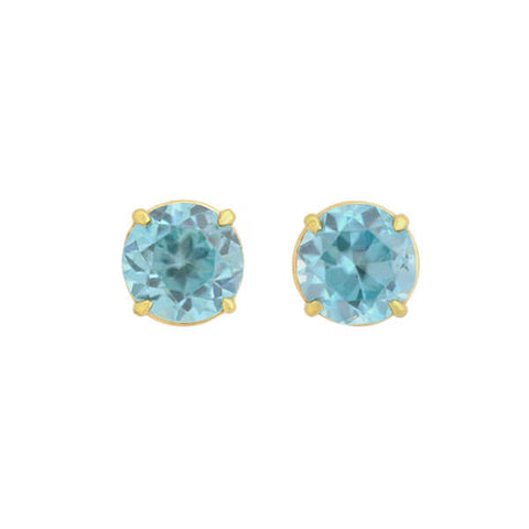 Estate 14kt Natural Blue Zircon Stud Earrings