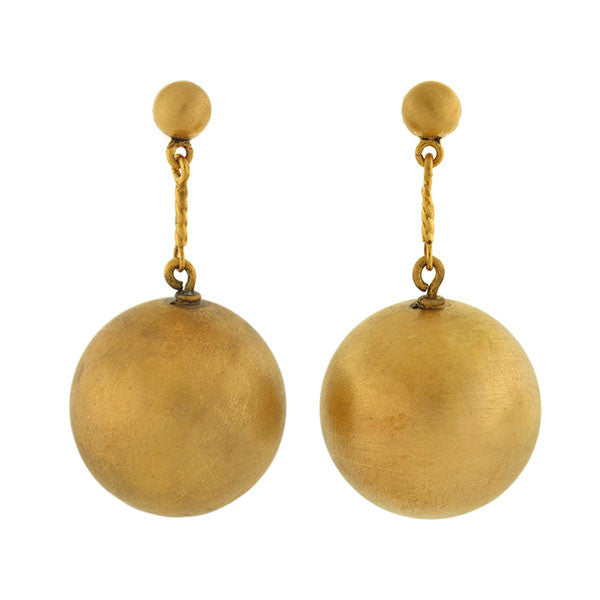 Estate 14kt Brushed Gold Ball Earrings