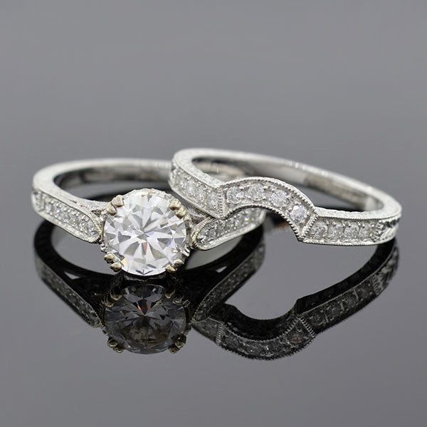 Estate 18kt Diamond Engagment Ring & Band Set 1.08ct