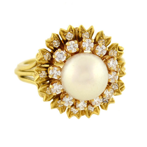 Estate 18kt Pearl & Diamond Ring & Earring Stud Set