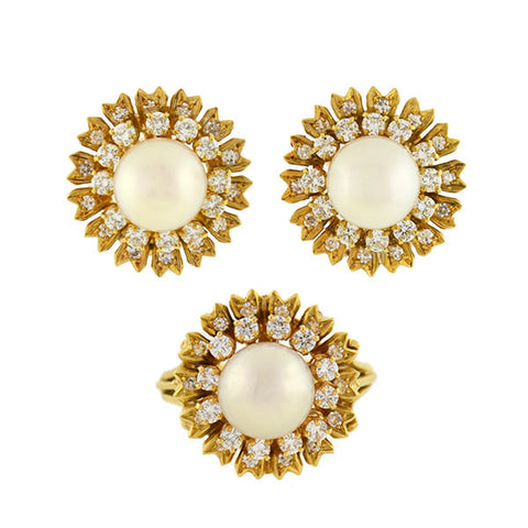 Estate 18kt Diamond & Pearl Clip Earrings