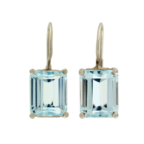 Estate 14kt Emerald Cut Aquamarine Earrings