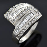 Estate 14kt Gold Mixed Cut Diamond Bypass Ring 1.75ctw