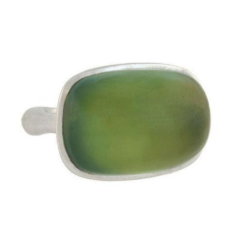 Estate 18kt Large Prehnite Stone Ring
