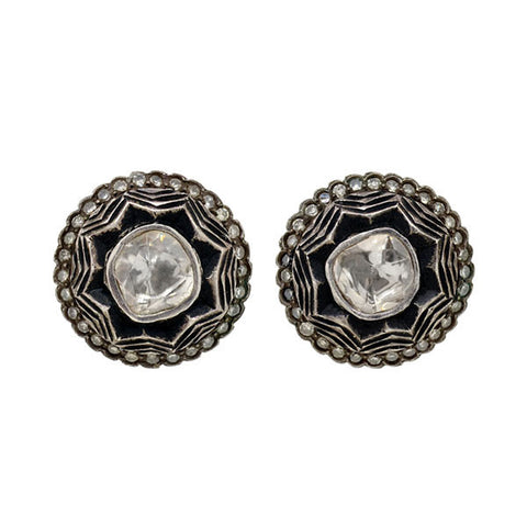 Estate Sterling Gilt & Rose Cut Diamond Stud Earrings