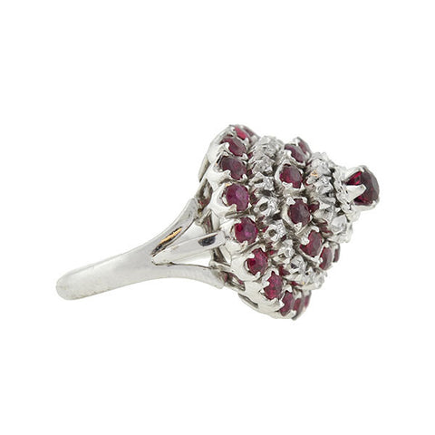 Estate 18kt Ruby & Diamond Princess Ring