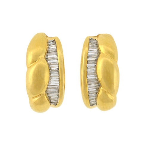 "Estate 18kt Baguette Diamond Half Hoop ""Huggy"" Earrings"