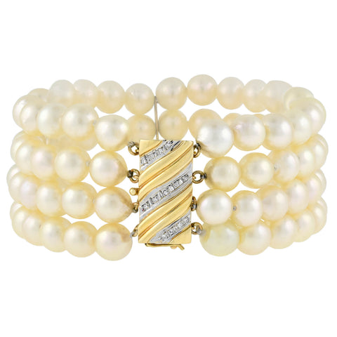 Estate 14kt 4-Strand Cultured Pearl + Two-Tone Diamond Bracelet