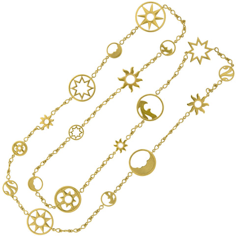 "LIV BALLARD Estate 18kt ""Cosmos Catena"" Celestial Open Link Necklace 42"""