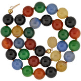 Estate Gold-Filled Multi-Colored Agate Large Bead Necklace 16