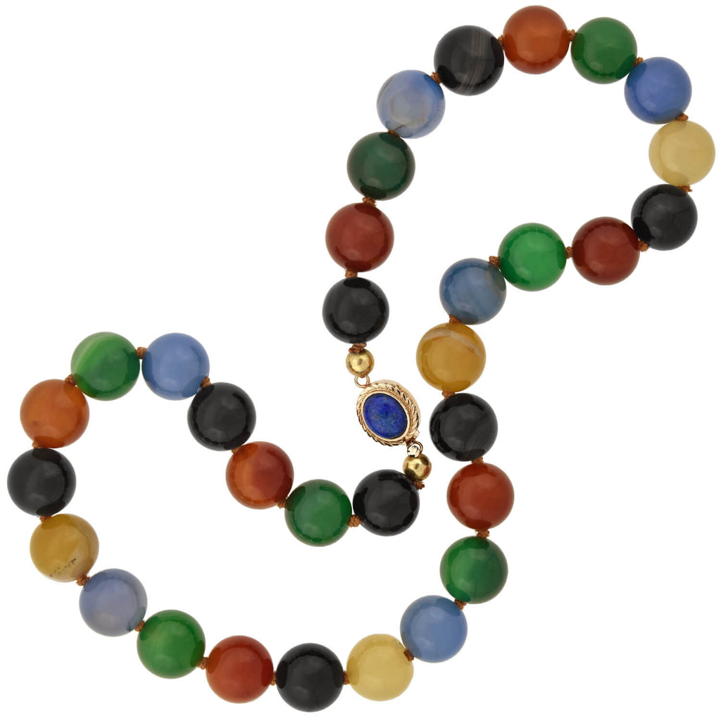 Estate Gold-Filled Multi-Colored Agate Large Bead Necklace 16""