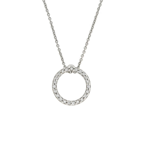"Estate Petite 18kt Open Circle Diamond Pendant Necklace 16.5"" + 18"""