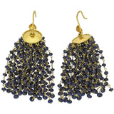 Estate 18kt Beaded Sapphire Tassel Earrings