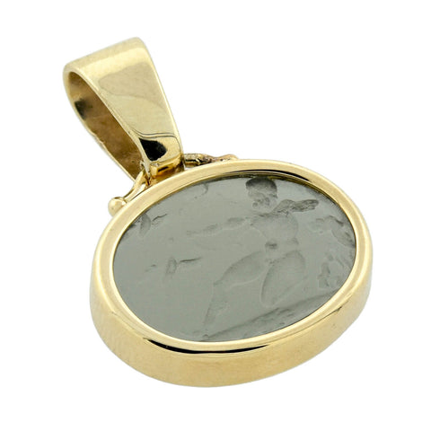 Estate 14kt Grey Glass Tassie Pendant