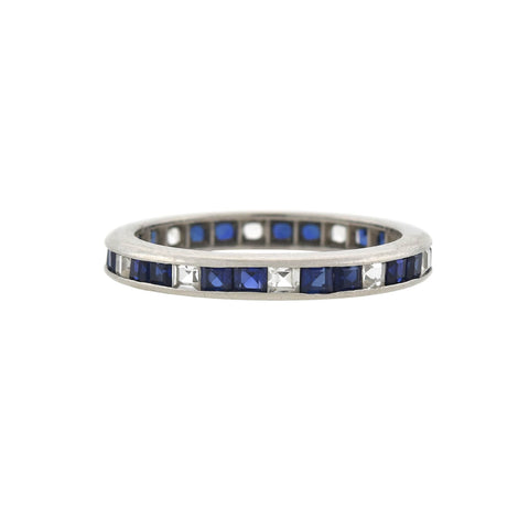 Estate 18kt Square Cut White + Blue Sapphire Eternity Band