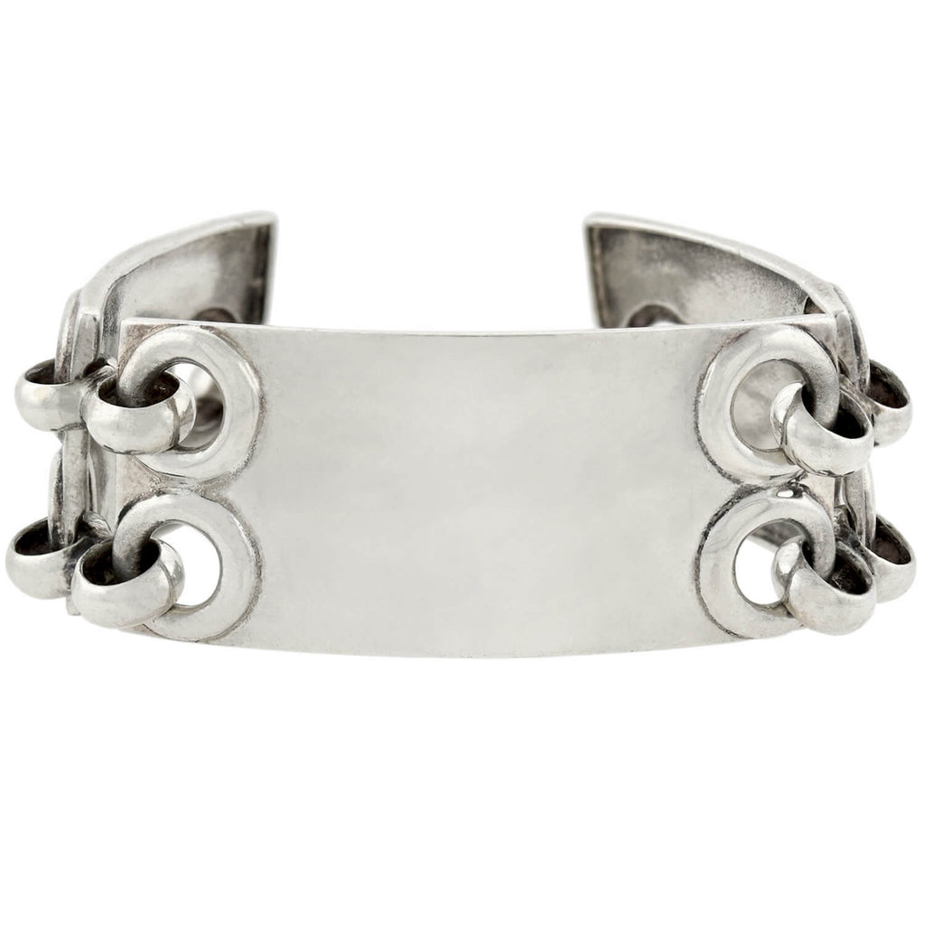 Estate Sterling Silver Hinged Panel Link Bracelet