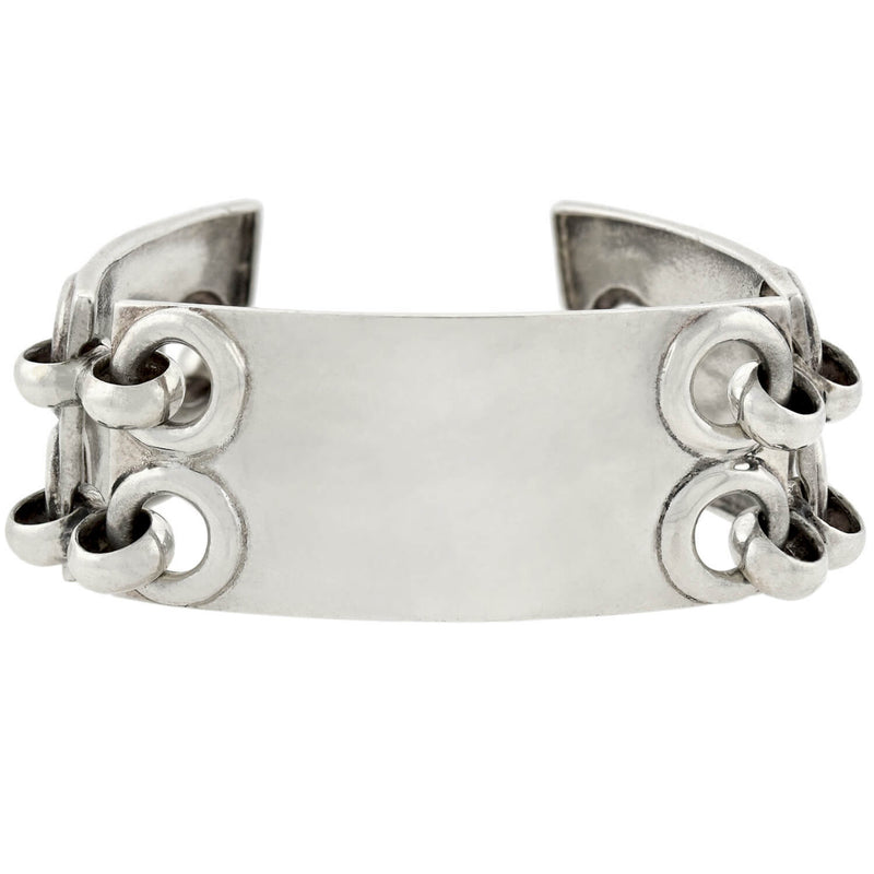 Retro Sterling Silver Ram's Head Bangle Bracelet