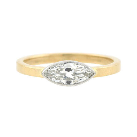 Estate 14kt Two-Tone Marquis Diamond Ring 0.70ctw