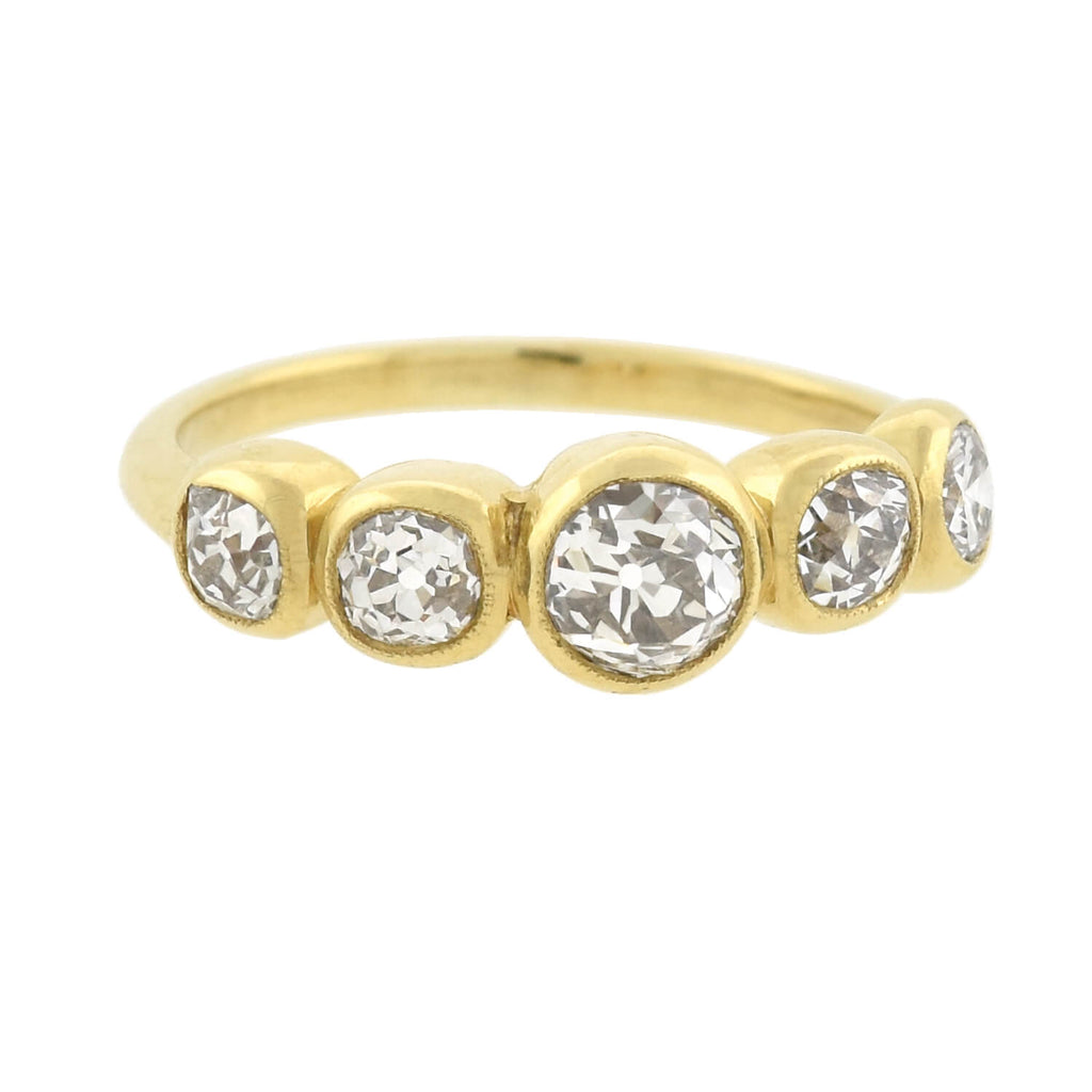 Victorian Style 18kt Mine Cut Diamond 5-Stone Ring 1.30ctw