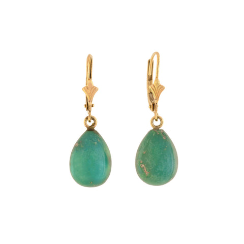 Estate 14kt Turquoise Teardrop Dangle Earrings