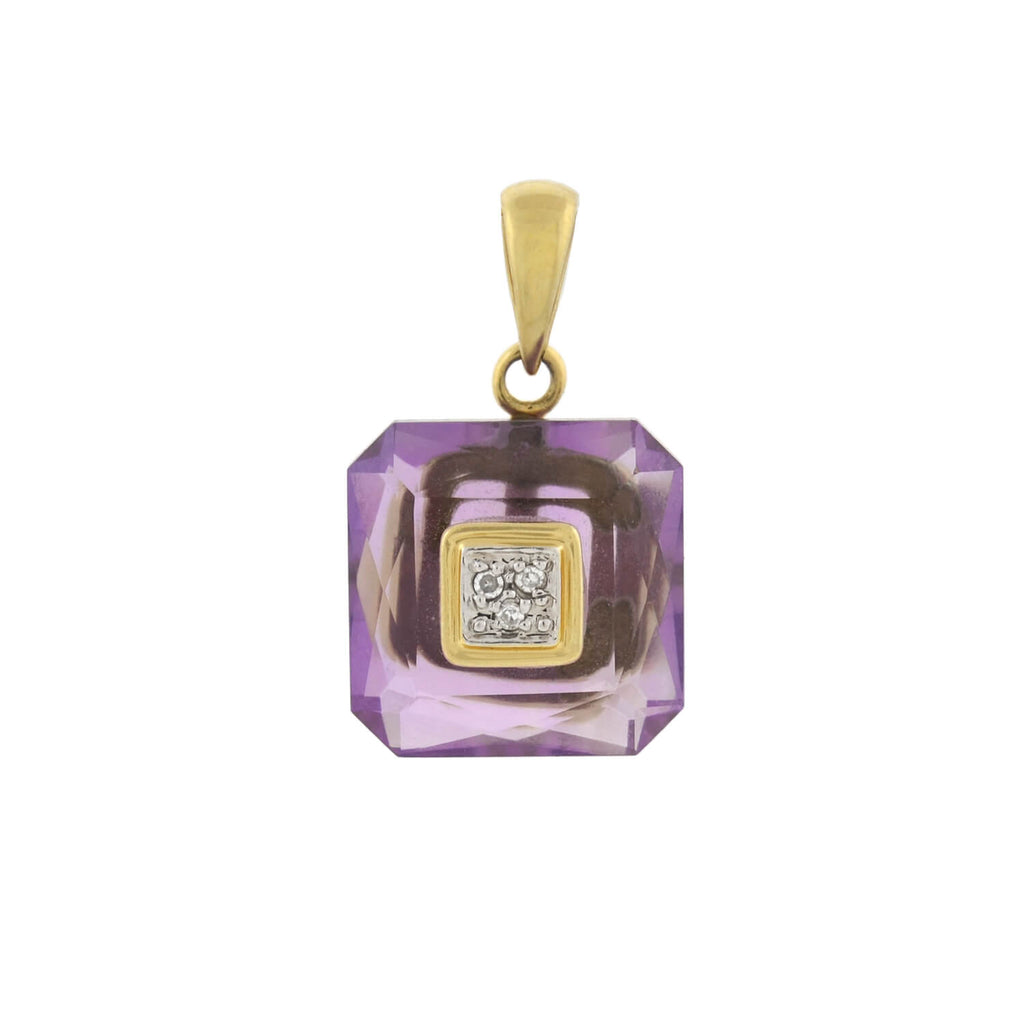 Estate 14kt Carved Amethyst + Diamond Pendant