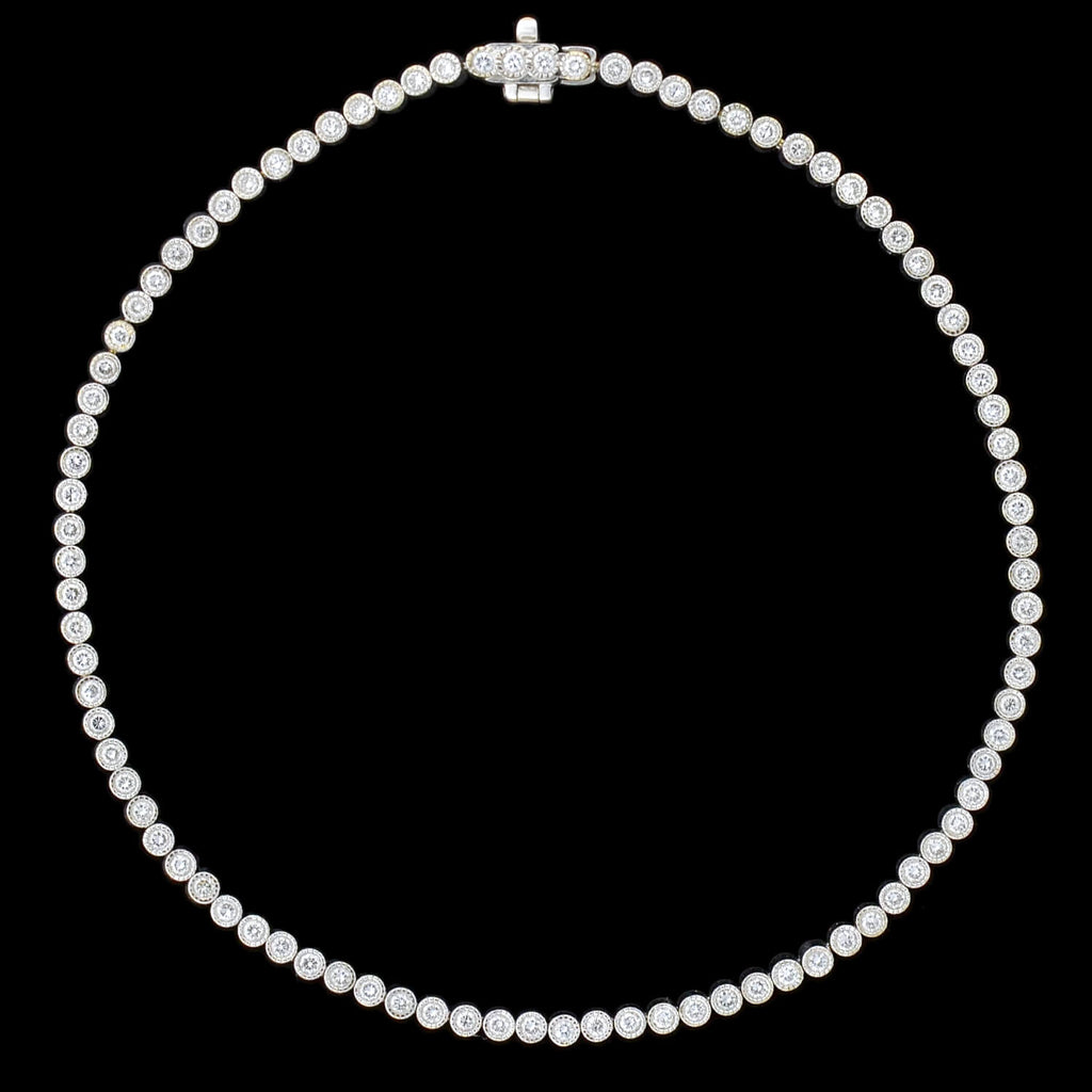 Estate 18kt Bezel Set Diamond Link Bracelet 1.82ctw