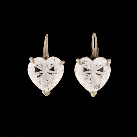 Estate 14kt White Gold Cubic Zirconia Heart Earrings
