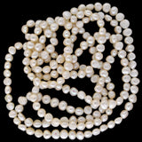 Estate Long White Freshwater Pearl Necklace 63