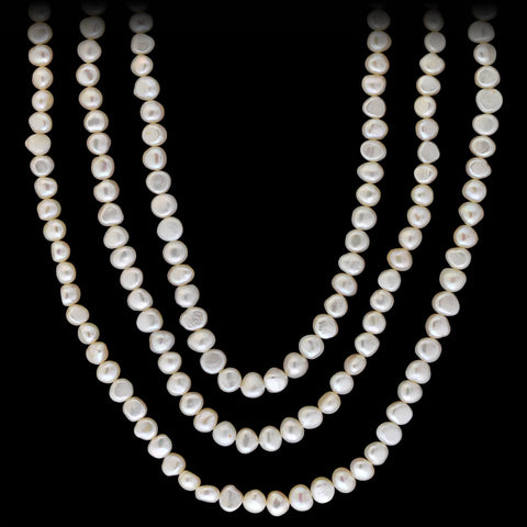 Estate Long White Freshwater Pearl Necklace 63""
