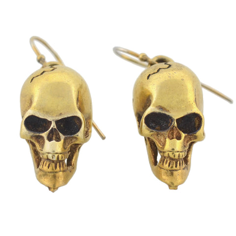Estate Gilded Sterling Silver Skull Dangle Earrings