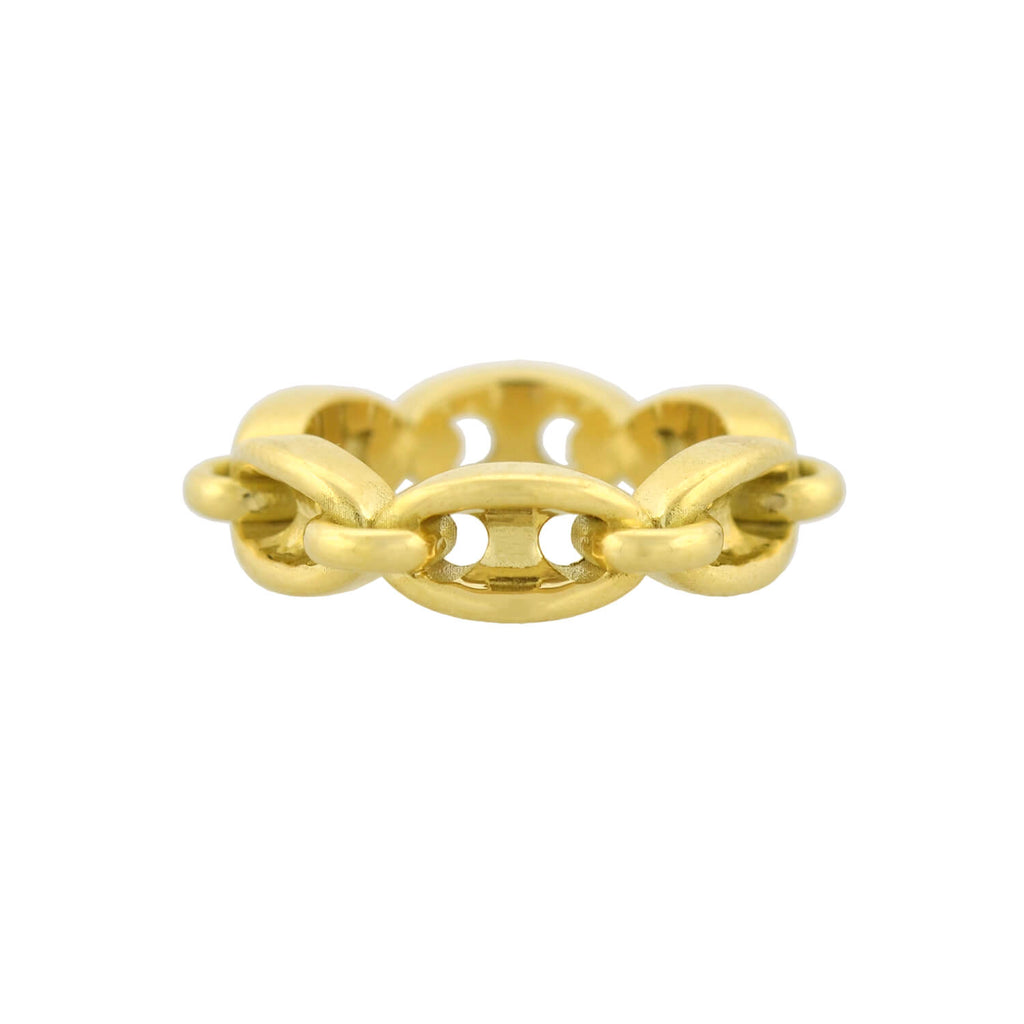 Estate 18kt Gucci Style Anchor Link Chain Ring 6.4dwt