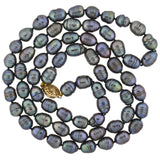 Estate Tahitian Black Pearl Necklace + Gold Filled Filigree Clasp 38