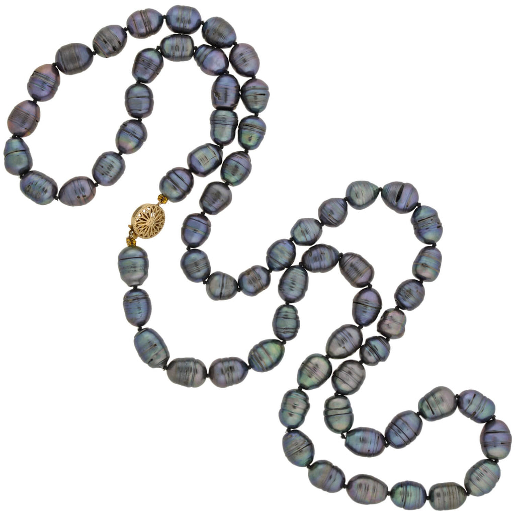Estate Tahitian Black Pearl Necklace + Gold Filled Filigree Clasp 38""