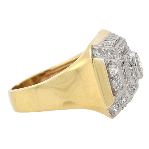 Estate Large 14kt Mixed Metals Tiered Diamond Ring