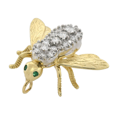 Estate 14kt Mixed Metals Diamond + Emerald Bumblebee Pendant 0.50ctw