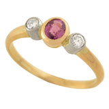 Estate 18kt Pink Sapphire + Diamond Ring