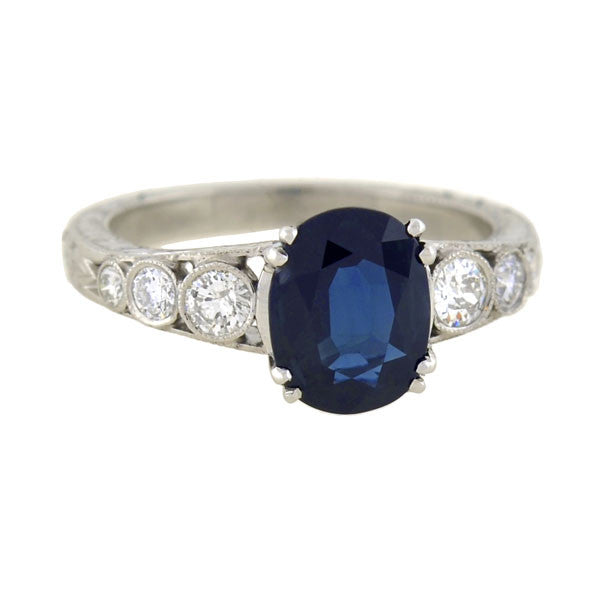 Art Deco Style Platinum Sapphire Diamond Engagement Ring 1.97ct