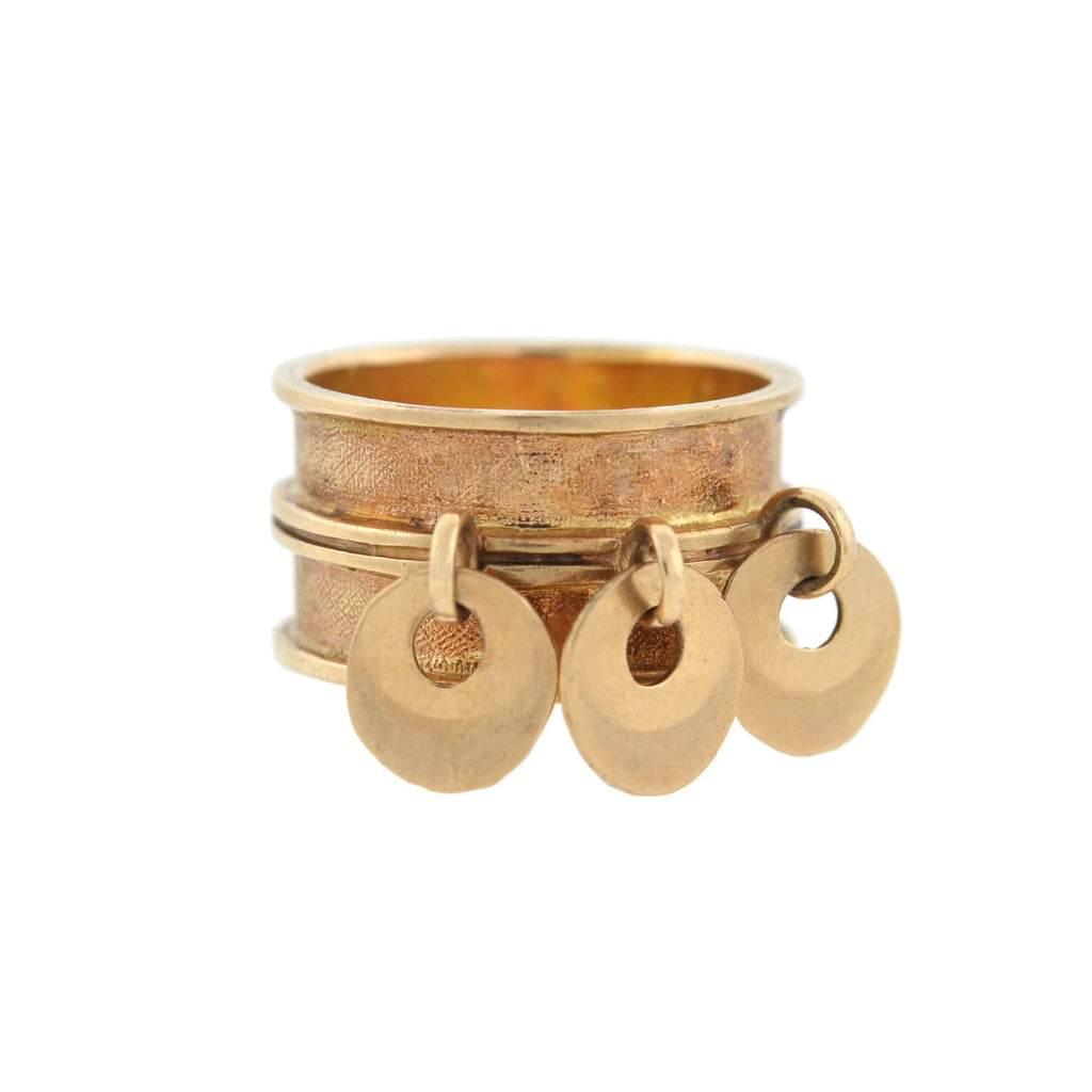 Estate 14kt Wide Band Ring + Moveable Disc Charms